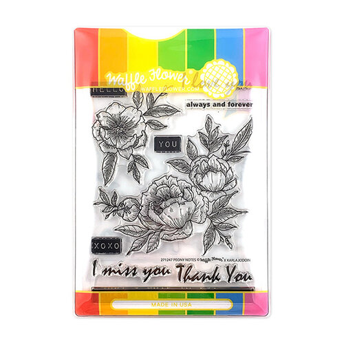 Waffle Flower Crafts - Craft Die and Photopolymer Stamp Set - Peony Notes Combo