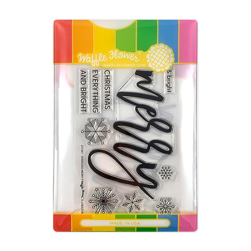 Waffle Flower Crafts - Christmas - Craft Die and Photopolymer Stamp Set - Oversized Merry Combo