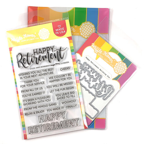 Waffle Flower Crafts - Craft Die and Photopolymer Stamp Set - Happy Retirement Combo