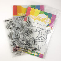 Waffle Flower Crafts - Craft Die and Clear Photopolymer Stamp Set - Peony Bouquet Combo
