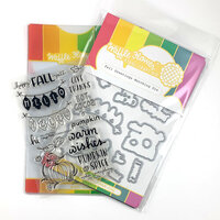 Waffle Flower Crafts - Craft Die and Clear Photopolymer Stamp Set - Fall Greetings Combo
