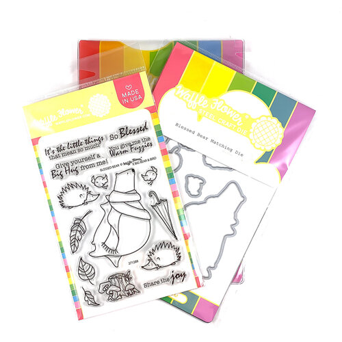 Waffle Flower Crafts - Craft Die and Photopolymer Stamp Set - Blessed Bear Combo