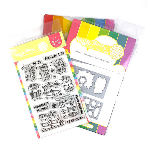Waffle Flower Crafts - Craft Die and Photopolymer Stamp Set - Winter Hamsters Combo