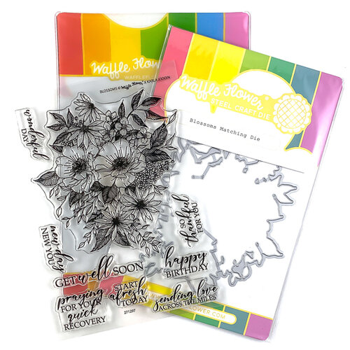 Waffle Flower Crafts - Craft Die and Clear Photopolymer Stamp Set - Blossoms Combo