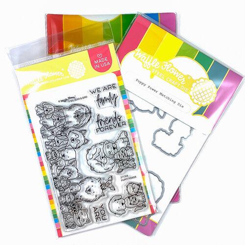 Waffle Flower Crafts - Craft Die and Photopolymer Stamp Set - Puppy Power