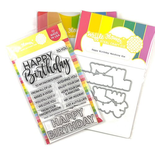 Waffle Flower Crafts - Hearts and Roses Collection - Craft Die and Clear Photopolymer Stamp Set - Happy Birthday Combo