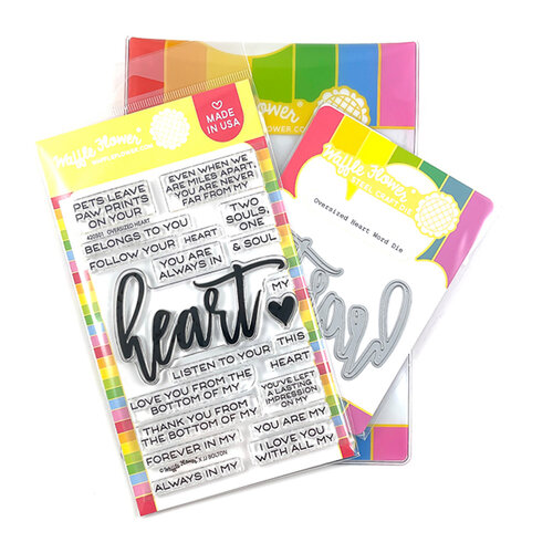 Waffle Flower Crafts - Hearts and Roses Collection - Craft Die and Clear Photopolymer Stamp Set - Oversized Heart Combo
