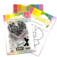 Waffle Flower Crafts - Hearts and Roses Collection - Craft Die and Photopolymer Stamp Set - Rose Bouquet Combo