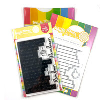 Waffle Flower Crafts - Craft Dies and Clear Photopolymer Stamp Set - Labelmaker Rainbows Combo
