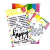 Waffle Flower Crafts - Craft Dies and Clear Photopolymer Stamp Set - Oversized Happy