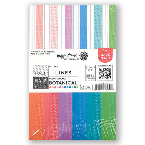 Waffle Flower Crafts - 5.5 x 8.5 Paper Pad - Half-Half Lines - Botanical