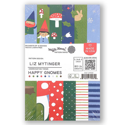 Waffle Flower Crafts - 5.5 x 8.5 Paper Pad - Happy Gnomes