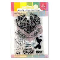 Waffle Flower Crafts - Hearts and Roses Collection - Stencil-n-Stamp - Rose Bouquet