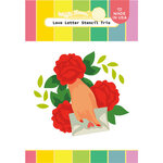 Waffle Flower Crafts - Hearts and Roses Collection - Stencils - Love Letter