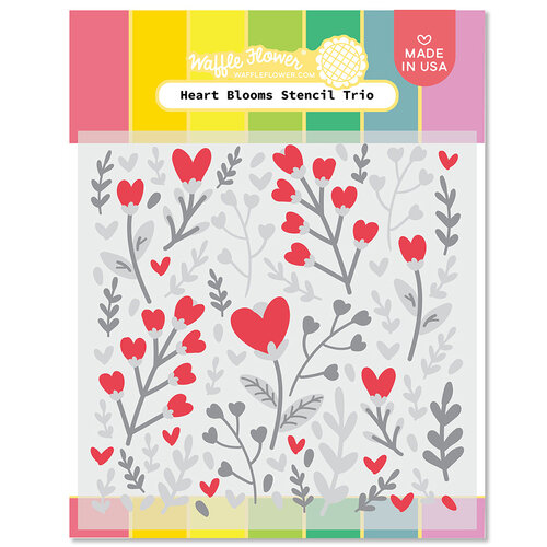 Waffle Flower Crafts - Hearts and Roses Collection - Stencils - Heart Blooms