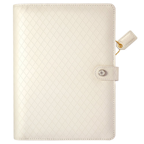 Websters Pages - Color Crush Collection - A5 Planner Binder - White Diamond Stitching