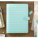 Websters Pages - Color Crush Collection - A5 Planner Binder - Ice Blue with Gold Stripe