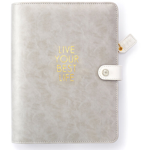 Websters Pages - Color Crush Collection - A5 Planner Binder - Live Your Best Life - Grey - Binder only