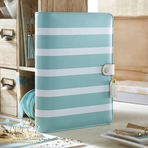 Websters Pages - Color Crush Collection - A5 Planner Binder - Teal Stripe