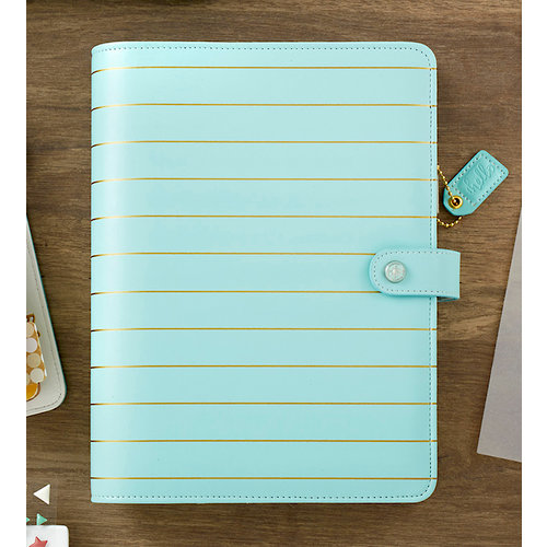 Websters Pages - Color Crush Collection - A5 Planner Kit - Ice Blue with Gold Stripe - Undated