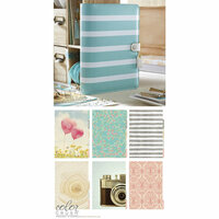 Websters Pages - Color Crush Collection - A5 Planner Kit - Teal Stripe - Oct. 2015 to Dec. 2016