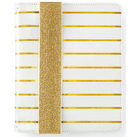 Websters Pages - Color Crush Collection - A5 Traveler's Notebook with Journal Kit - Gold Stripe