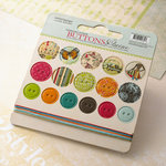 Websters Pages - Trendsetter Collection - Chipboard Stickers - Buttons and Twine