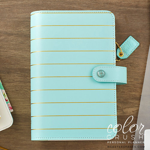 Websters Pages - Color Crush Collection - Personal Planner Kit - Ice Blue with Gold Stripe - Undated