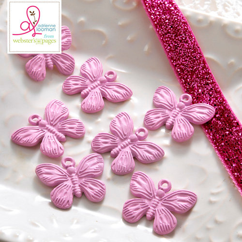 Websters Pages - Sweet Routine Collection - Charms - Metal Embellishments - Butterfly