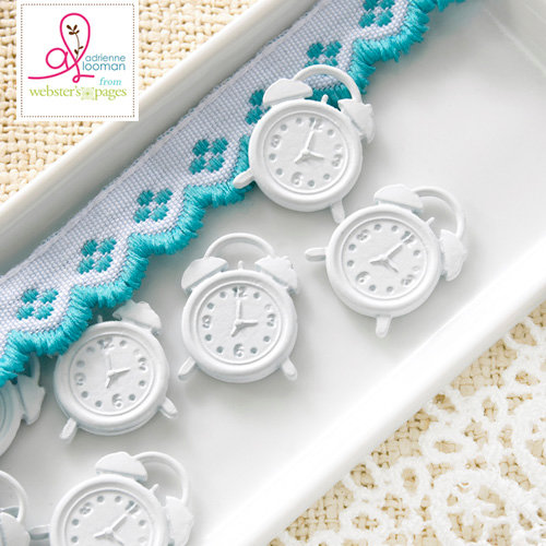Websters Pages - Sweet Routine Collection - Charms - Metal Embellishments - Clocks