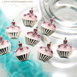 Websters Pages - Party Time Collection - Charms - Metal Embellishments - Cupcakes