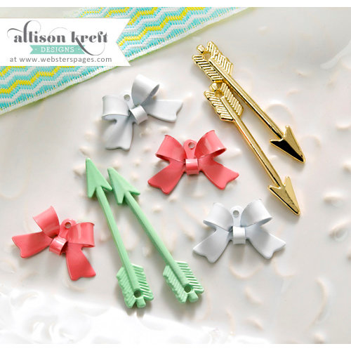 Websters Pages - Hello World Collection - Charms - Metal Embellishments - Arrows and Bows
