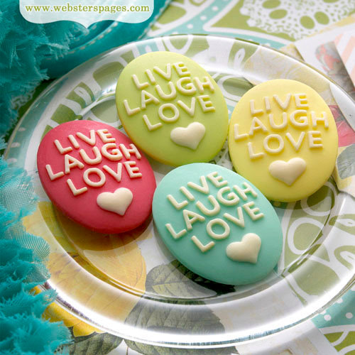Websters Pages - Perfect Accents - Resin Embellishment Pieces - Live Laugh Love Cameos