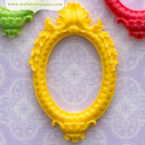 Webster's Pages - Perfect Bulks - Resin Embellishment Pieces - Frame - Yellow