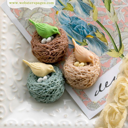 Websters Pages - Perfect Accents - Resin Embellishment Pieces - Nesting Birds Variety Pack
