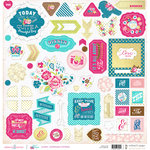 Websters Pages - Sweet Routine Collection - 12 x 12 Chipboard Stickers