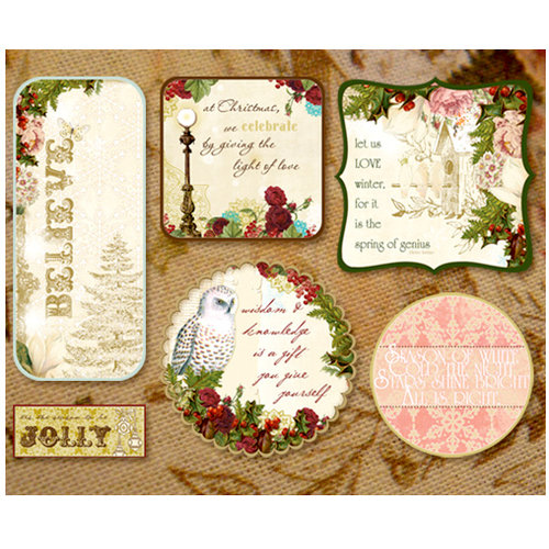 Websters Pages - Home for the Holidays Collection - Christmas - Fabric Fancies - Tags - Winter