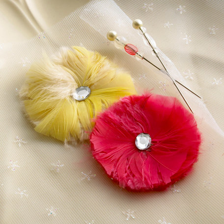 Websters Pages - Western Romance Collection - Feather Flowers and Pins