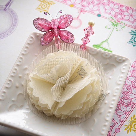 Websters Pages - Winter Fairy Tales Collection - Butterfly Pin and Flower