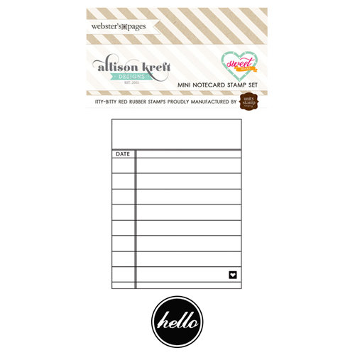 Webster's Pages - Sweet Notes Collection - Cling Mounted Rubber Stamp Set - Mini Notecard
