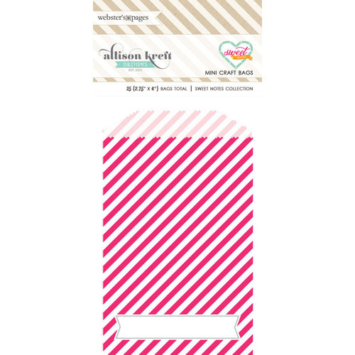 Websters Pages - Sweet Notes Collection - Mini Craft Bags - Stripes - Pink