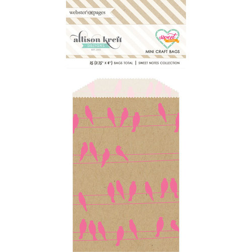 Websters Pages - Sweet Notes Collection - Mini Craft Bags - Birds - Pink and Kraft