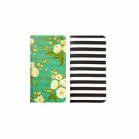 Websters Pages - Color Crush Collection - 2 Traveler's Notepad Inserts - Black and White Stripe and Green Floral