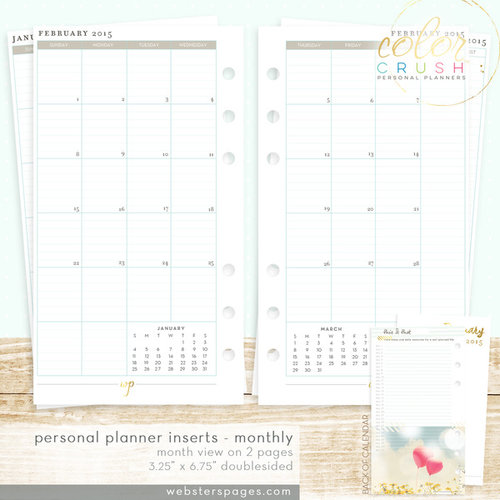 Websters Pages - Color Crush Collection - Personal Planner - Inserts - 18 Month - Month View Calendar - July 2015 to Dec. 2016