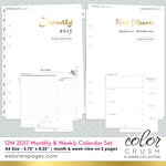 Websters Pages - Color Crush Collection - A5 Planner - Inserts - 12 Month - Week and Month Calendar