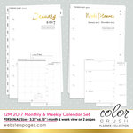 Websters Pages - Color Crush Collection - Personal Planner - Inserts - 12 Month - Week and Month Calendar - Jan. 2017 to Dec. 2017