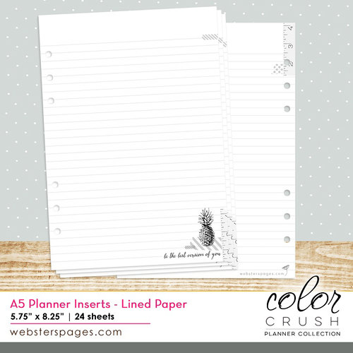 Websters Pages - Color Crush Collection - A5 Planner - Inserts - Lined Paper