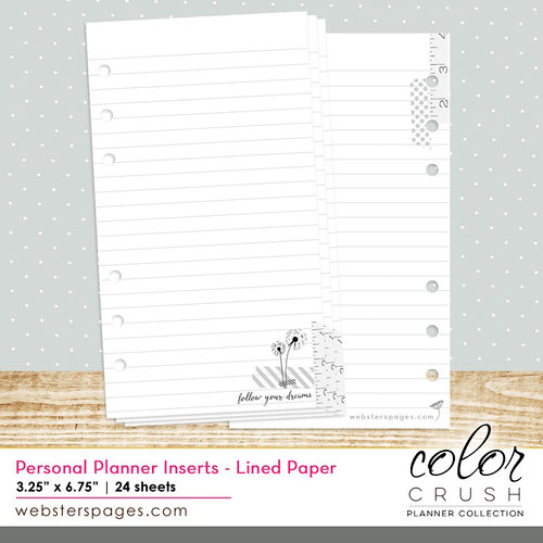 Websters Pages - Color Crush Collection - Personal Planner - Inserts - Lined Paper