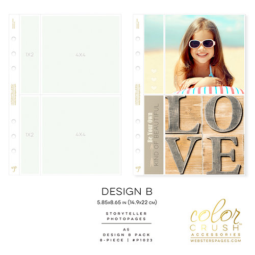 Websters Pages - Color Crush Collection - A5 Planner - Inserts - Photo Sleeves - Design B - 8 Pack