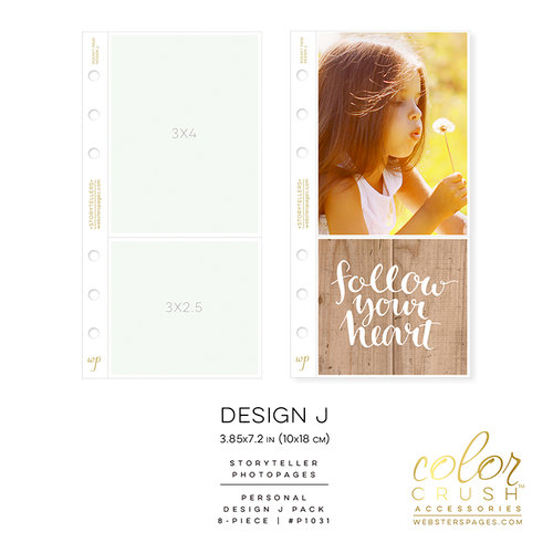 Websters Pages - Color Crush Collection - Personal Planner - Inserts - Photo Sleeves - Design J - 8 Pack